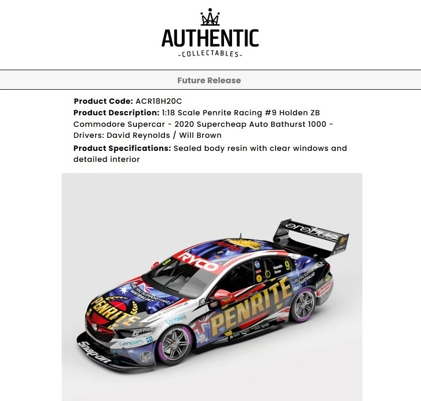 1/18 Penrite Racing #9 Holden ZB Commodore Supercar
