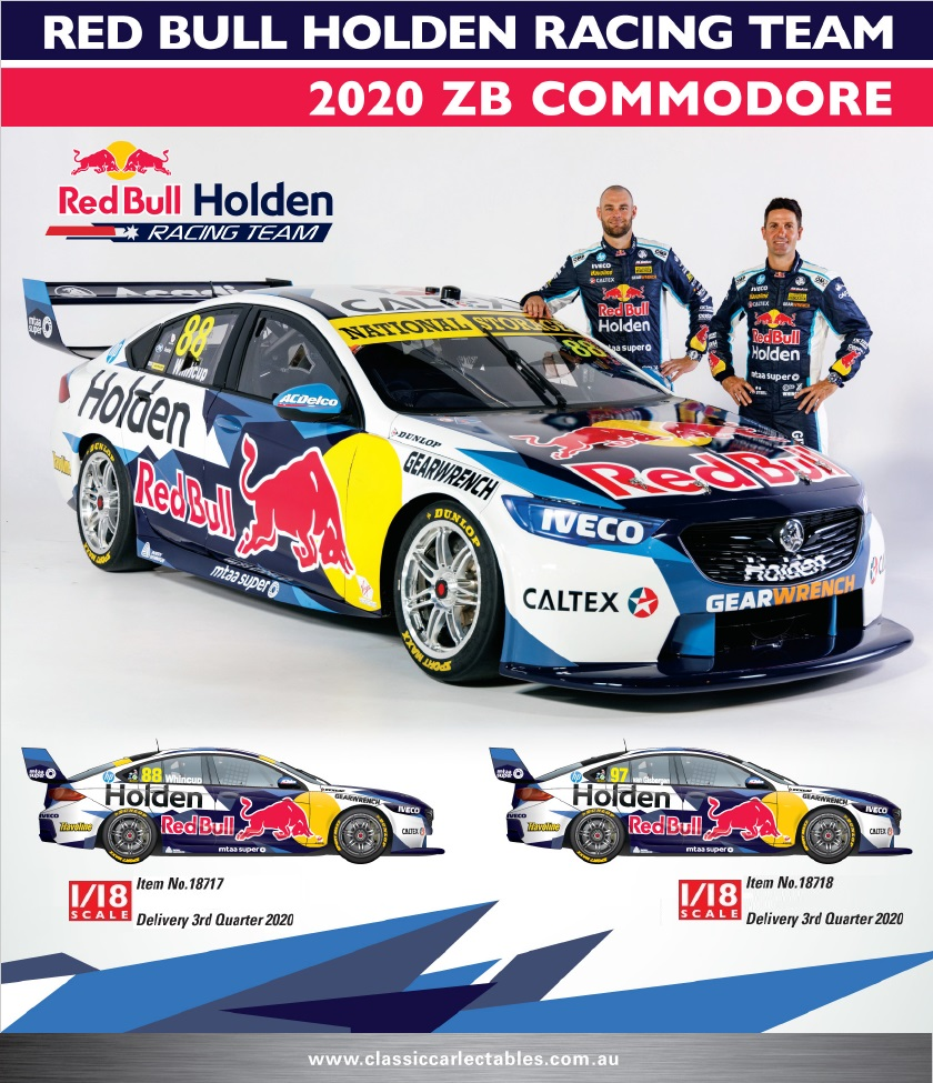 1/18 2020 ZB Commodore - Red Bull Holden Racing (CC18717 & CC18718 )